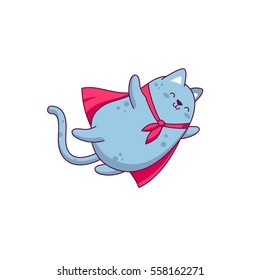 Vector character design funny fly cat