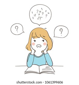 Vector character design. A girl confused about math. Isolated on white. Doodle cartoon style.