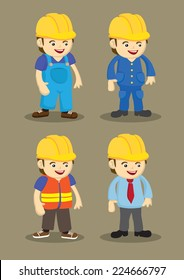 Vector character design of workers and professionals wearing yellow helmet in building and construction industry.