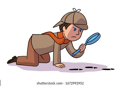Vector character detective boy collects evidence and investigates crime. Kid dressed in Sherlock Holmes suit examines footprints with magnifying glass. Profession for child and childhood concept
