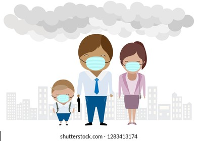 vector character of family wearing mask created with air smog or air pollution in the city