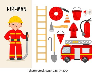 Vector character fireman. Illustrations of fireman equipment. Set of cartoon professions.
