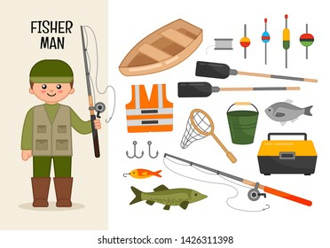 Vector character fisherman. Illustrations of fisherman equipment. Set of cartoon professions.