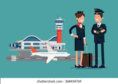 Vector character flat design on commercial civil pilot and flight attendant stewardess standing in front of airport with airliner plane on runway