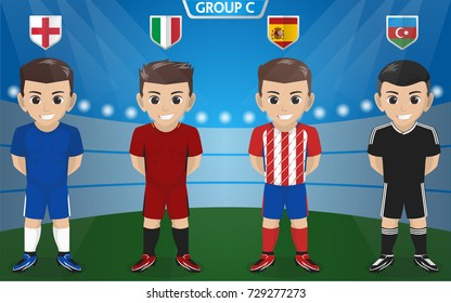 Vector Character of Football / Soccer Team for European Championship Group C