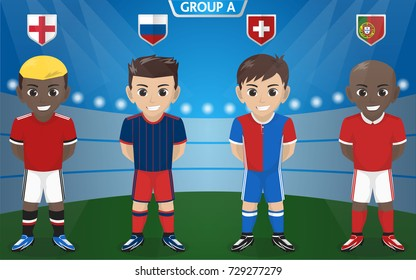 Vector Character of Football / Soccer Team for European Championship Group A