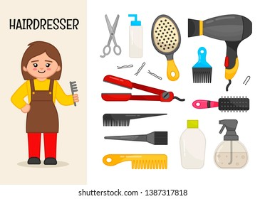 Vector character hairdresser. Illustrations of hairdresser equipment. Set of cartoon professions.