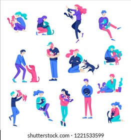 Vector character. Happy people with their pets, cat and dog love their owners. Colorful flat concept illustration.