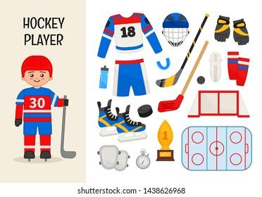 Vector character hockey player. Illustrations of hockey equipment. Set of cartoon professions.