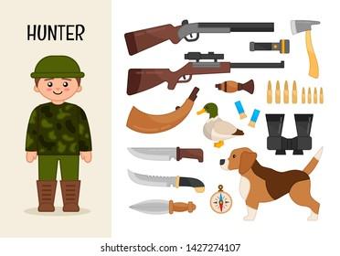 Vector character hunter. Illustrations of hunter equipment. Set of cartoon professions.