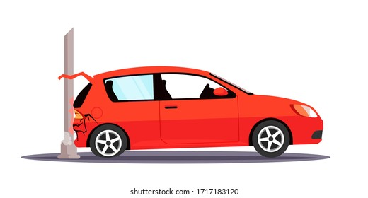 Vector character illustration auto traffic accident. Car crashed to street lighting pole. Damaged automobile with broken trunk isolated object. Collision on road, safety of driving personal vehicles