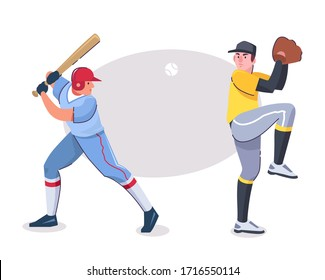 Vector character illustration of baseball players in different poses. Batter with bat, pitcher with glove, isolated objects in sports uniform. Professional competition, entertainment, hobby concept