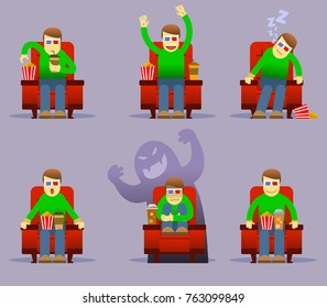 Vector character illustration collection set of people watch movie