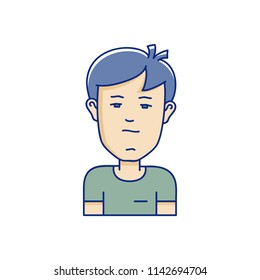 Vector character illustration of man face in cartoon linear style. Avatar vector icon.
