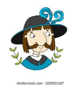 Vector character illustration mustache man musketeer in hat with feathers