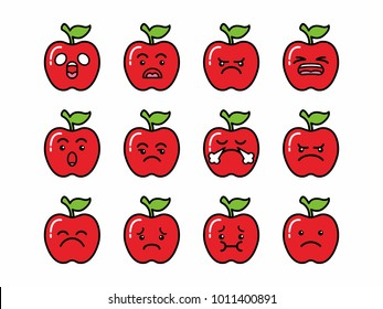 vector character illustration red apple face emoticon expression