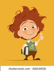 Vector character illustration of Smart cute kid with book thumbs finger up