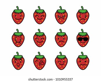 vector character illustration strawberry fruit facial expression emoticon