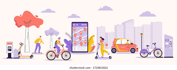 Vector character illustration of urban infrastructure and modern lifestyle. Man, woman using rental service: skateboard, kick scooter, bicycle, electric car. Mobile app for search, rent eco transport - Shutterstock ID 1723815022
