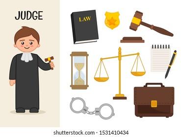 Vector character judge. Illustrations of judge equipment. Set of cartoon professions.