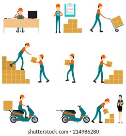 Vector character logistic and shipping business teamwork