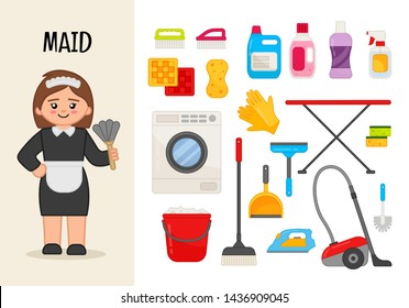 Vector character maid. Illustrations of maid equipment. Set of cartoon professions.