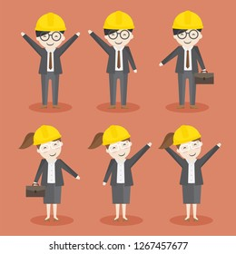 vector character of man and woman engineer with yellow safty helmet.