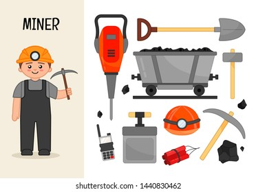 Vector character miner. Illustrations of mining equipment. Set of cartoon professions.