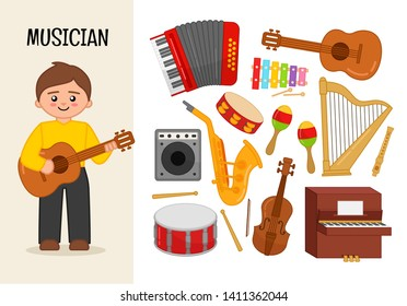 Vector character musician. Illustrations of musician equipment. Set of cartoon professions.