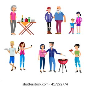 Vector character people on Family picnic or Bbq party. Food and barbeque, summer and grill