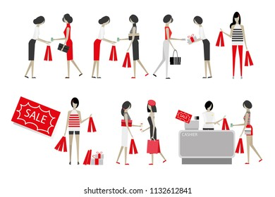 vector character people working woman shopping on white background