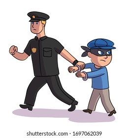 Vector character police officer detained teenage masked bully. Strong cop arrests angry criminal, thief or robber. Law and order, problem children and adolescents, work with difficult children concept