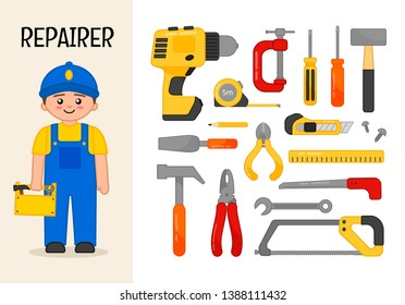Vector character repairer. Illustrations of tool. Set of cartoon professions.