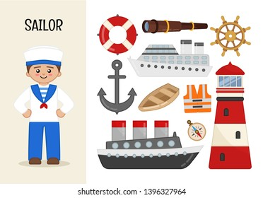 Vector character sailor. Illustrations of sailor equipment. Set of cartoon professions.