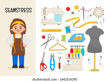 Vector character seamstress. Illustrations of sewing equipment. Set of cartoon professions.