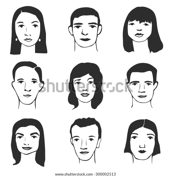 Vector Character Set Cartoon Faces Illustration Stock Vector