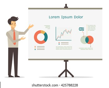 Vector character of smile businessman presenting with visual whiteboard, in presentation concept.