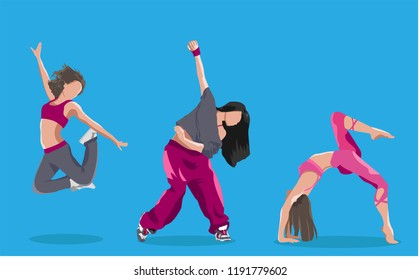 Vector character of sporty women in action. Three female characters, Vector Isolated illustration for print on T-shirt and bags, yoga studio and fitness club posters