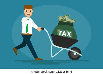 Vector character of stressed worker pushing cart with bag of tax money on blue background. Eps illustration. Man carrying mandatory financial charge or some other type of levy imposed to IRS concept
