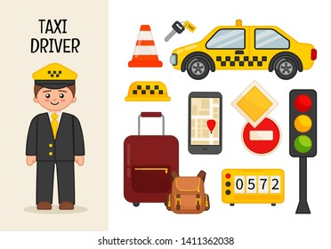 Vector character taxi driver. Illustrations of taxi driver equipment. Set of cartoon professions.