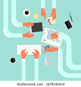 Vector character top view of creative business process. Flat illustration of workspace. Hands of businessmen are working on an idea.
