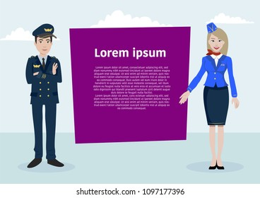 Vector characters of airplane staff on the background with text. Can be used for web banner