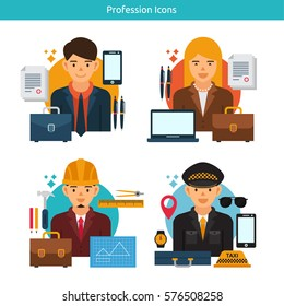 Vector Characters Collection.Set of 4 different professions in flat style. Business Man, Business Women, Architect, Taxi Driver