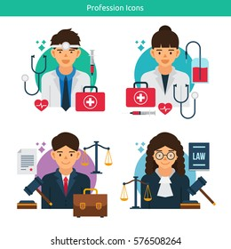 Vector Characters Collection.Set of 4 different professions in flat style. Doctor, Nurse, Lawyer, Judge