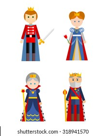 Vector characters collection on white background. Elements for design.