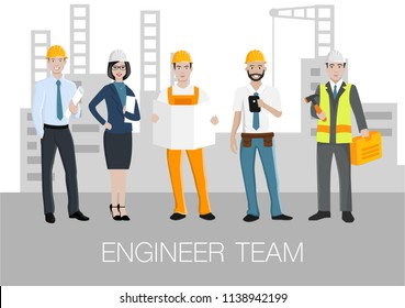 Vector characters of five engineers on the constructional background. Can be used for web banner