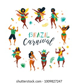 Vector characters. Set of brazilian samba dancers of the carnival in Rio de Janeiro. Vector illustration in retro flat style with carnival women and men. Design element for carnival concept.