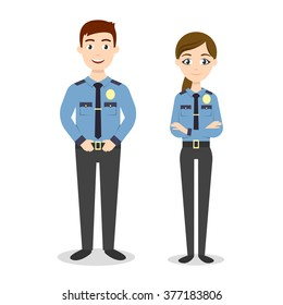 Vector characters: two young happy police officers, man and woman.