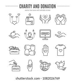 Vector charity and donation icon set isolated on white background, editable stroke