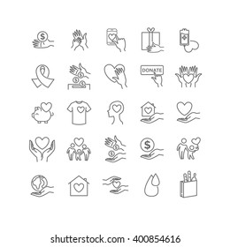 Vector charity and donation set. Volunteering thin line icon set for your design